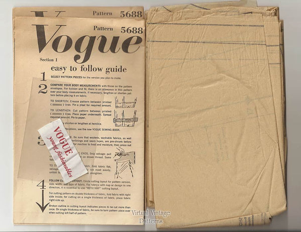 1960s Cocktail Dress & Redingote Pattern, Vogue 5688, Bust 32, Uncut, Label