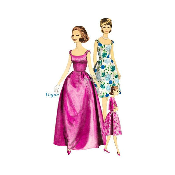 1960s Evening Gown Pattern Vogue 5701 Sleeveless Dress with Bell Shaped Skirt, Petticoat & Jacket