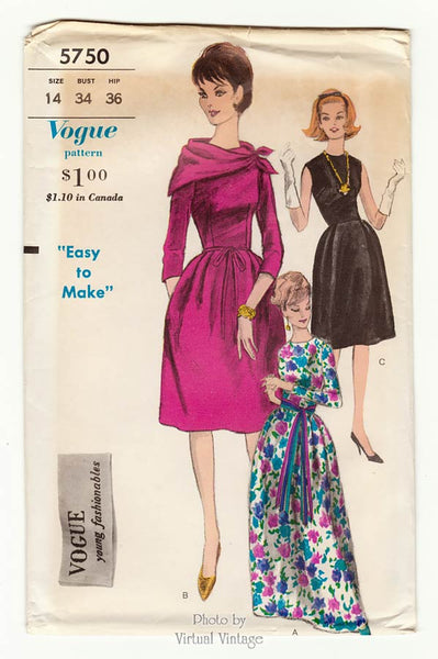 Vogue 5750, 1960s Cocktail Dress Pattern