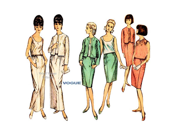 1960s Box Jacket, Sleeveless Blouse & Slim Skirt, Vogue Pattern 6320