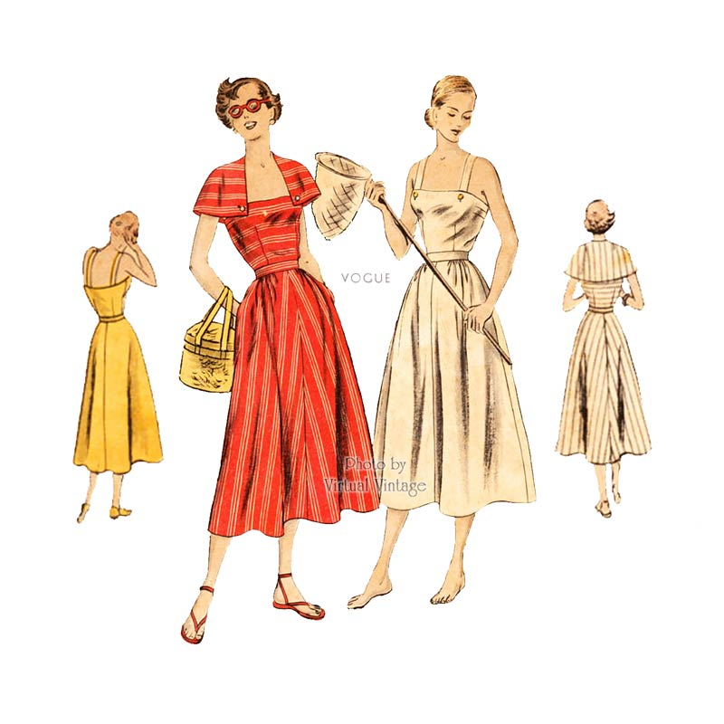 1940s Sun Dress Pattern Vogue 6446