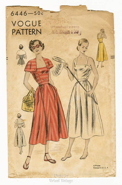 Vogue 6446 1940s Sun Dress Pattern
