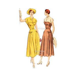 1940s Day Dress Pattern, Vogue 6456