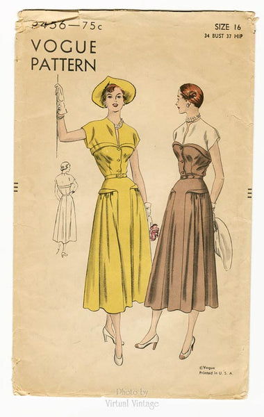 Vogue 6456, 1940s Day Dress Pattern