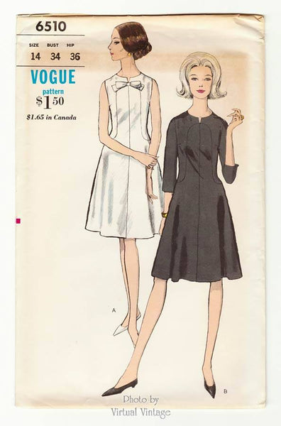 Vogue 6510, 1960s Sleeveless Dress Pattern