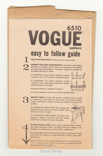 Vogue 6510 1960s Sleeveless Dress Pattern with Bow, Flared Skirt, Sleeve Variations, Bust 34, Uncut