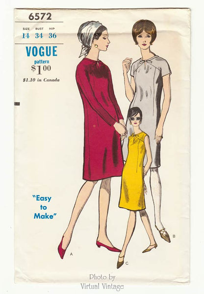 Vogue 6572, Mod Shift Dress Pattern, Bust 34