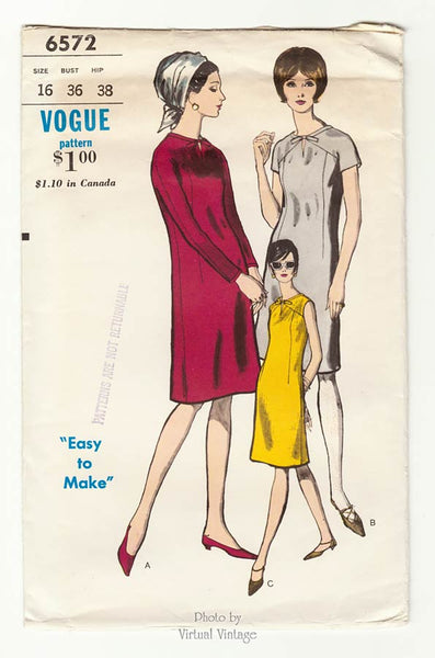 Vogue 6572, Bust 36, Easy Shift Dress Pattern