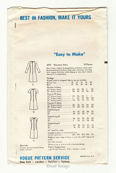 Mod Shift Dress Pattern, Vogue 6572, 1960s Vintage Easy Sewing Pattern, Bust 34 or 36, Uncut