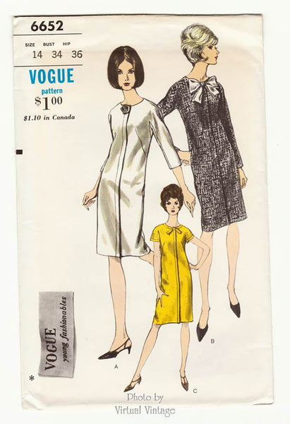 Vogue 6652, 60s Shift Dress Pattern with Jewel Neck