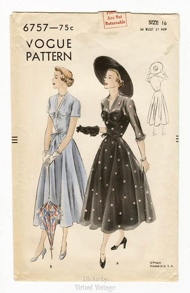 Vogue 6757, 1940s Dress Pattern