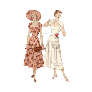 1950s Dress Sewing Pattern, Vogue Pattern 6761
