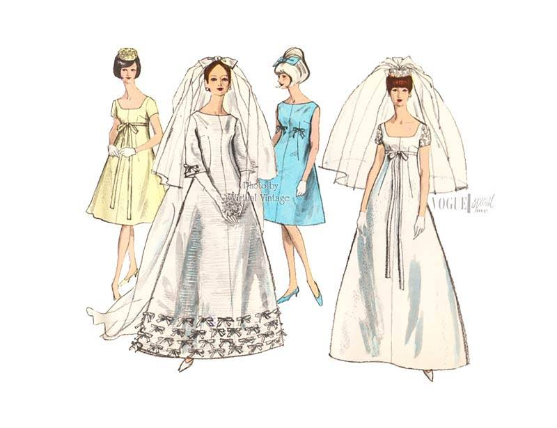 60s Empire Waist Wedding Dress Pattern, Vogue Special Design 6768