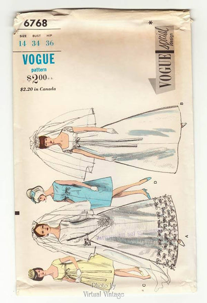 Vogue Special Design 6768, 60s Empire Waist Wedding Dress Pattern