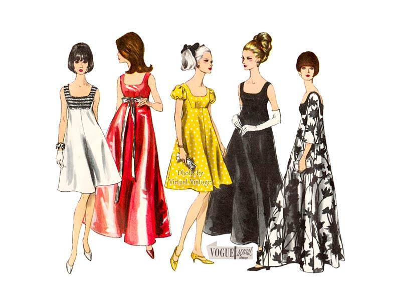 Vintage 1960s Sleeveless Evening Dress Pattern, Vogue Special Design 6924