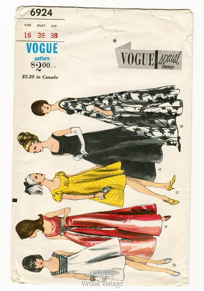 Vintage Vogue Special Design 6924, 1960s Empire Waist Evening Dress Pattern