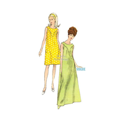 1960s Sleeveless Nightgown Pattern, Vogue 6928