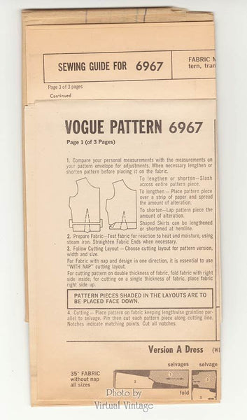 60s Mod Cocktail Dress Pattern Vogue Special Design 6967 Raglan Sleeve Tent Dress Bust 32 Uncut