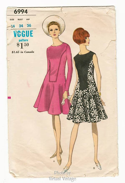 1960s Vogue 6994, Mod Dress Pattern