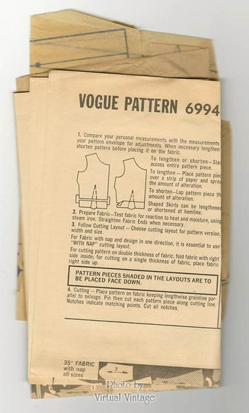 60s Mod Dress Pattern Vogue 6994 One Piece Flared Dress Vintage Sewing Pattern Bust 34