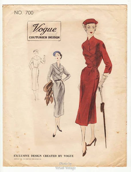 Vogue Couturier 700 1950s Couture Dress Pattern