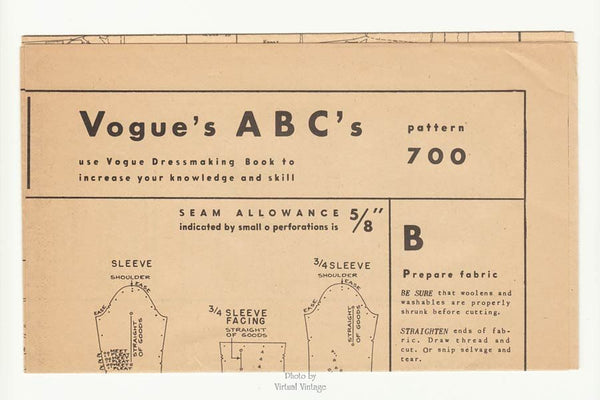 1950s Vogue Couturier Pattern 700