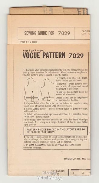 60s Sleeveless Jumper Pattern Vogue 7029 Mod A Line Dress Easy Sewing Patterns Bust 34 Uncut