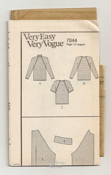 Loose-fitting Blouse Pattern, Vogue 7044, Easy Sewing, Sizes 8 10 12 or 14 16 18, Uncut