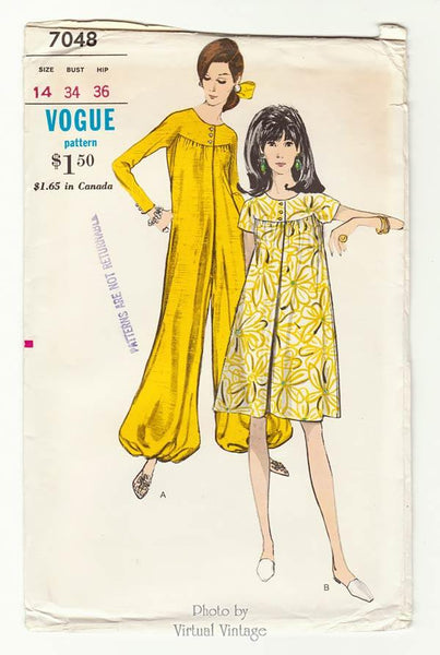Vogue 7048 1960s Mod Pantdress Pattern