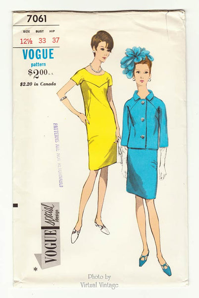 Vintage Vogue Special Design 7061, 1960s Jacket & Shift Dress Pattern