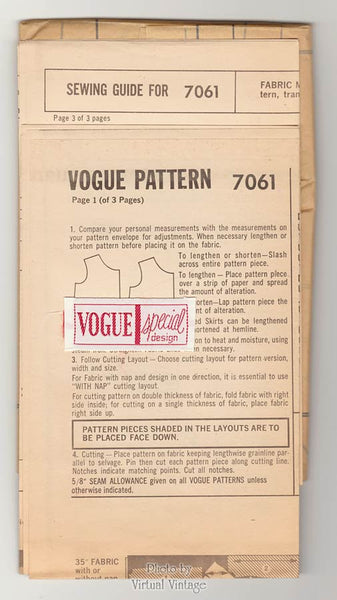 60s Jacket & Shift Dress Pattern, Vintage Vogue Special Design 7061, Bust 33, Uncut