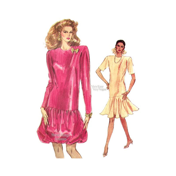 80s Dress Pattern, Very Easy Vogue 7063