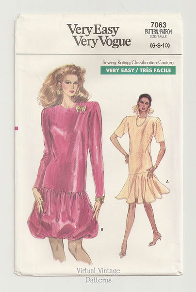 Very Easy Vogue 7063, 80s Dress Pattern