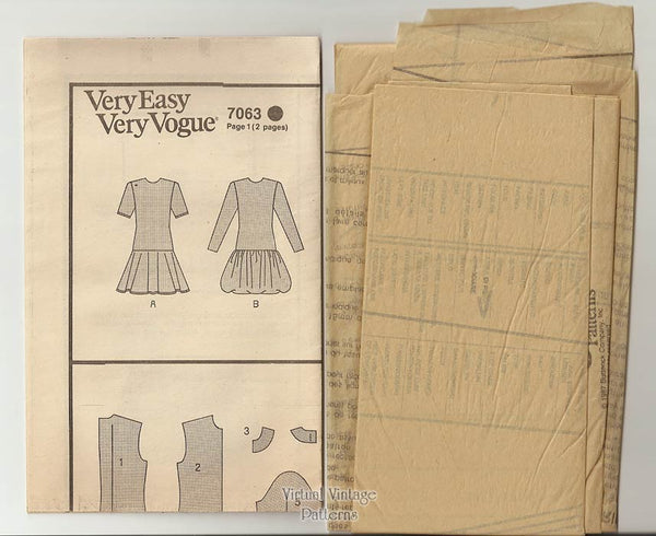 80s Dress Pattern Very Easy Vogue 7063 Fit & Flare Drop Waist Dress, Size 6 8 10 or 12 14 16, Uncut