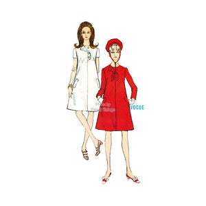 1960s Mod A Line Dress Pattern, Vogue 7067