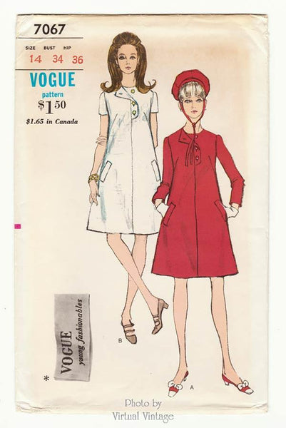 Vogue 7067 1960s Mod A Line Dress Pattern