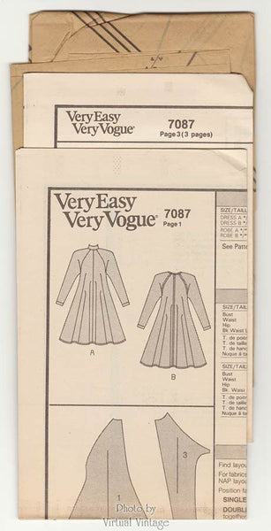 Long Sleeved Tent Dress Pattern Very Easy Vogue 7087 Size 14 16 18, Uncut