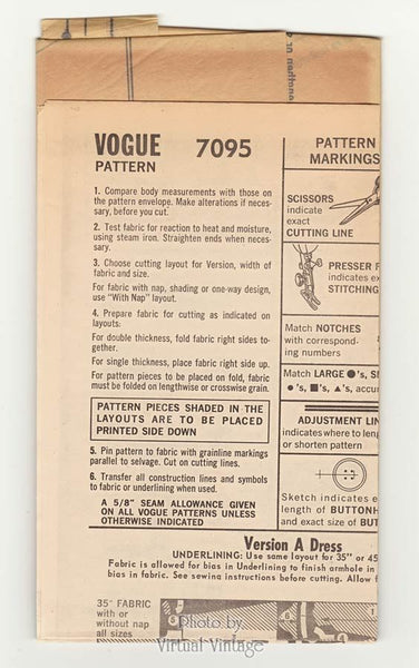 Vogue 7095 60s Tent Dress Pattern, Jewel Neckline, Long or Short Sleeves, Bust 34