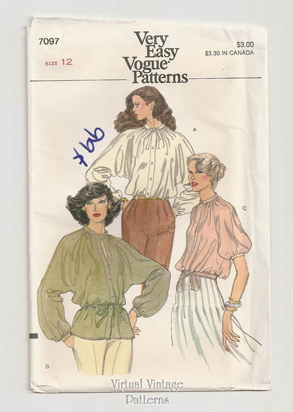 Very Easy Vogue 7097, Poet Blouse Pattern, Bust 34