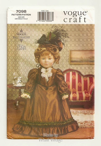 "Vogue Craft 7098 18"" Victorian Doll Dress Pattern"