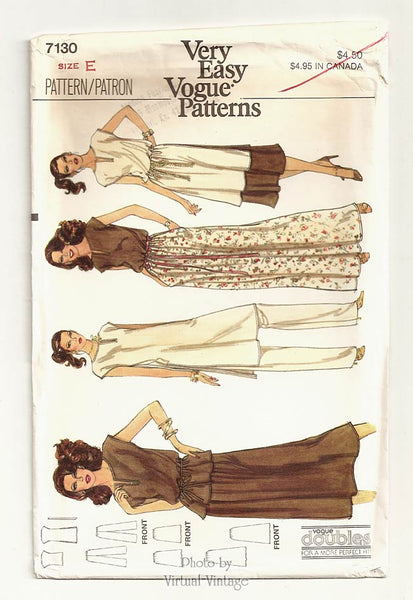Very Easy Vogue Pattern 7130, Tunic, Top, Belt, Skirt, Pants Patterns