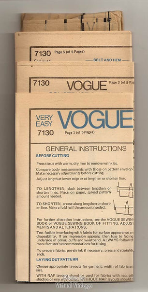 Very Easy Vogue Sewing Pattern 7130, Tunic, Top, Belt, Skirt, Pants Patterns, Size 14 to 16, Uncut