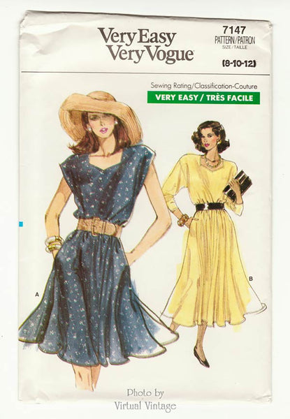 Vogue 7147, Easy Sewing Blouson Dress Pattern, Size 8 10 12, Uncut