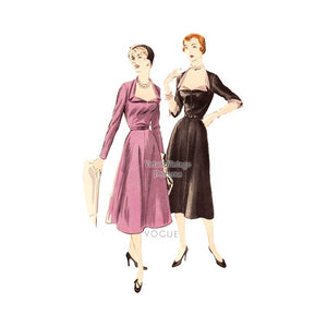 1950s Dress Pattern, Vogue 7152, Easy to Sew