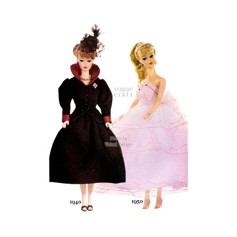 Vogue Craft 7190, 1940s 1950s Doll Dress Patterns