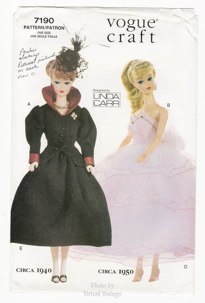 "Vogue Craft 7190, 11 1/2"" Fashion Doll Clothes Sewing Pattern"