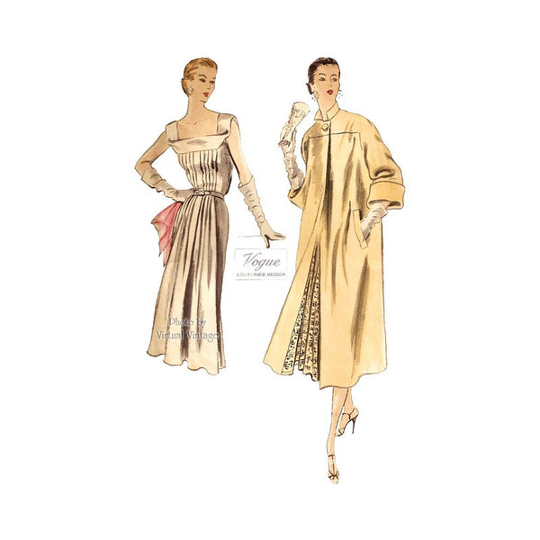 1950s Vogue Couturier Pattern 720, Coat and Sleeveless Dress Vintage Sewing Patterns