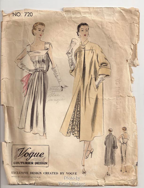 Vogue Couturier Pattern 720, 1950s dress and coat
