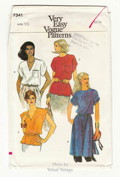 Very Easy Vogue 7341, Womens Tunic Top Pattern