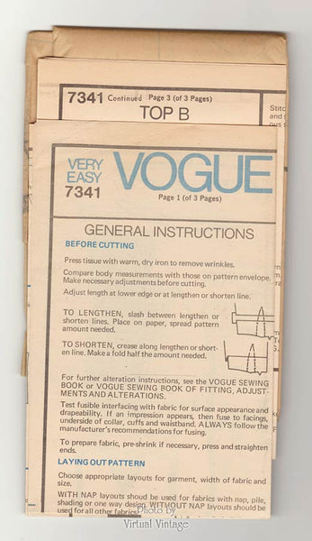 Very Easy Vogue 7341 Womens Tunic Top Pattern, Collar & Sleeve Variations, Uncut
